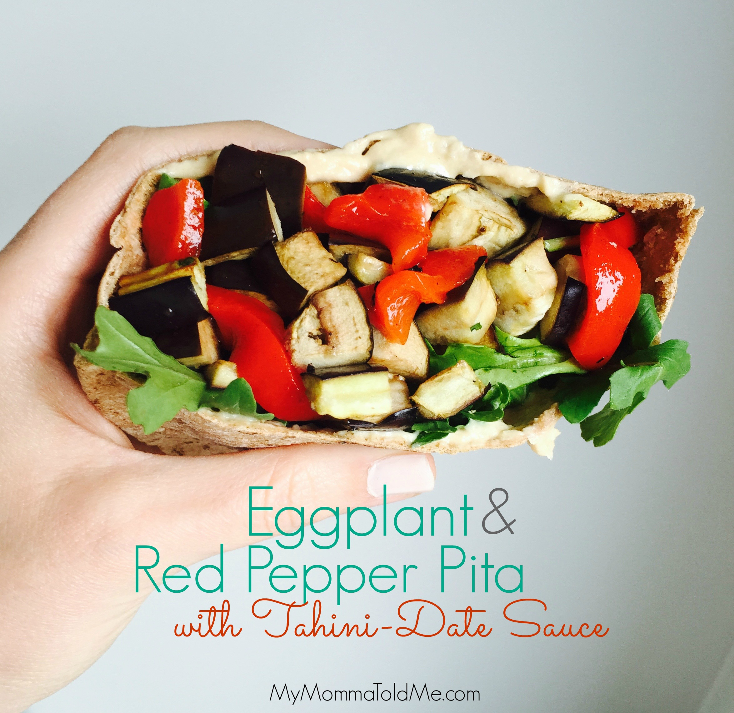Eat to Live Program Dr Fuhrman Nutritarian Recipe Eggplant and Red Pepper pita sandwich