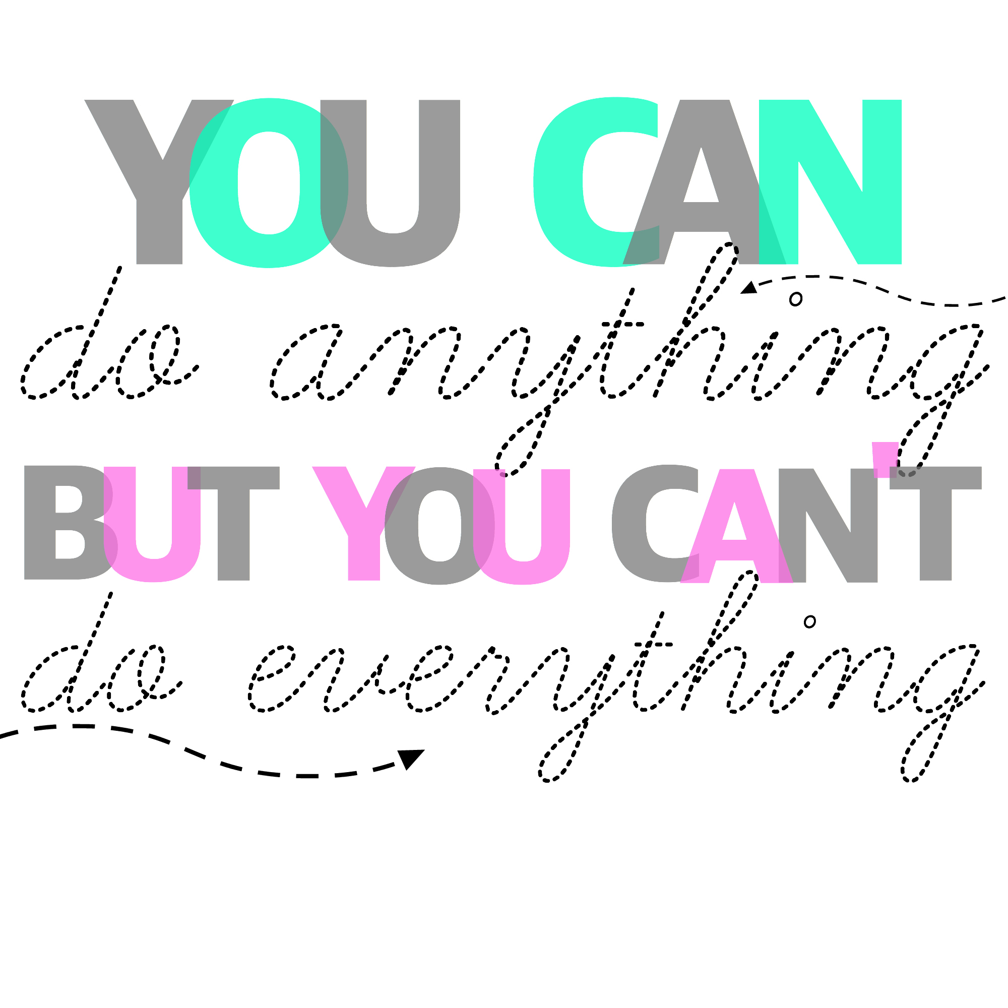 Inspirational life quote time management you can do anything but you can't do everything