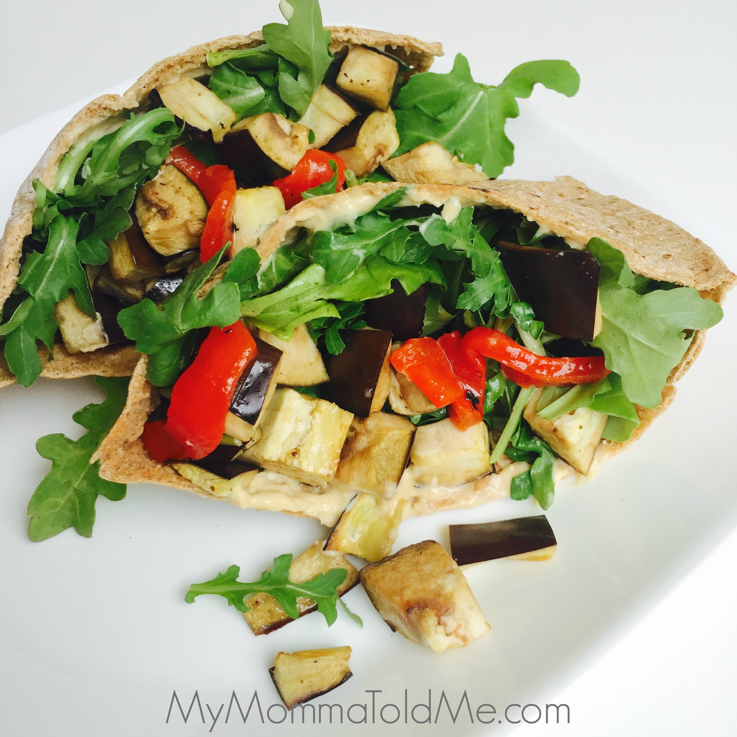 Nutritarian Eggplant and Red Pepper Pita Recipe