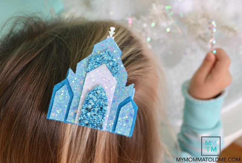 Elsa Frozen ice Castle Hair clip Tutorial free Template Frozen christmas craft