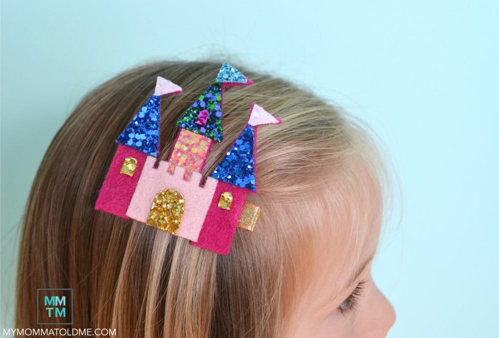 Felt castle hair clip tutorial anna frozen arandelle castle clip