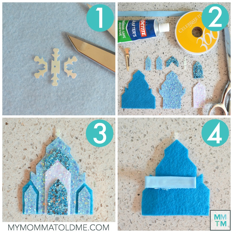 Frozen Elsa Ice Castle Craft Frozen Christmas Craft Felt Frozen Ice Castle Hair Clip Tutorial