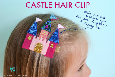 castle hair clip tutorial and free template Disney trip hair clip