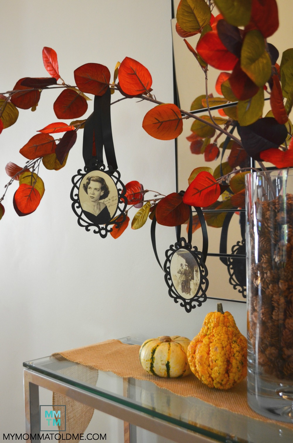 Thankful tree diy fall decor ideas dia de los muertos day of the deat family photo tree craft tutorial