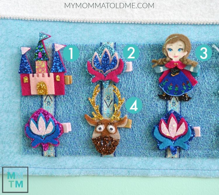 Disney Frozen Hair Clip Advent Calendar Tutorials Anna Sven Arandelle Castle Flower