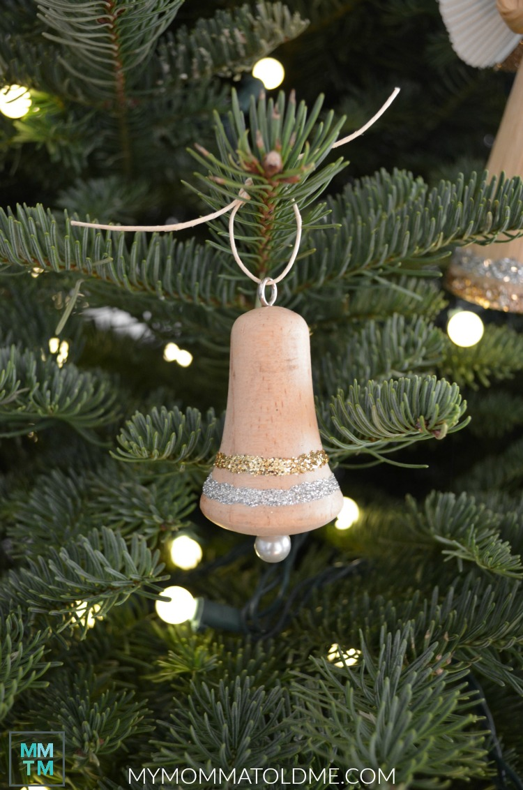 Natural Wood Christmas Ornaments Rustic Christmas decor Unfinished wood bell ornament