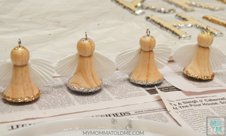 Rustic Christmas Decorations Natural Wooden Angel Ornaments Glitter DIY