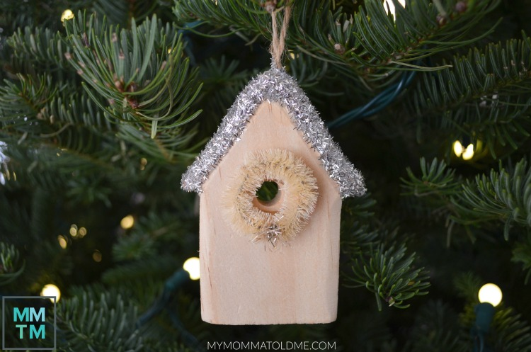 DIY Christmas Ornaments Unfinished Wood Bird house ornament tinsel flitter