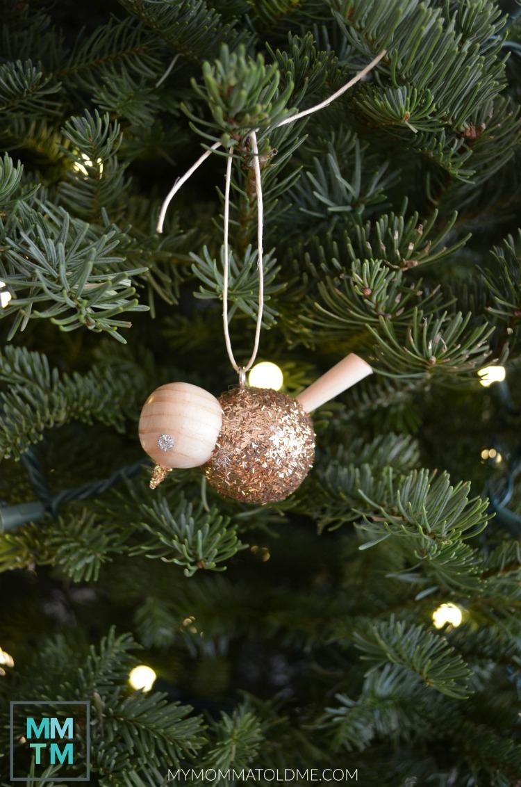 Wooden bird christmas ornament DIY Wooden Christmas ornaments gold tinsel bird