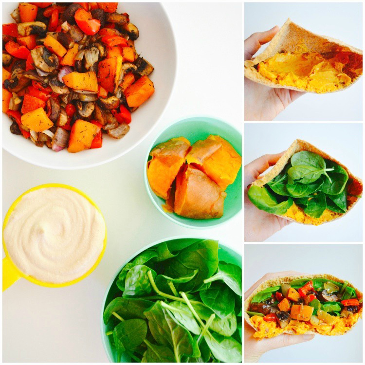 Roasted vegetable sweet potato hummus pita recipe how to Dr Fuhrman eat to live diet 6 week plan the end of heart disease