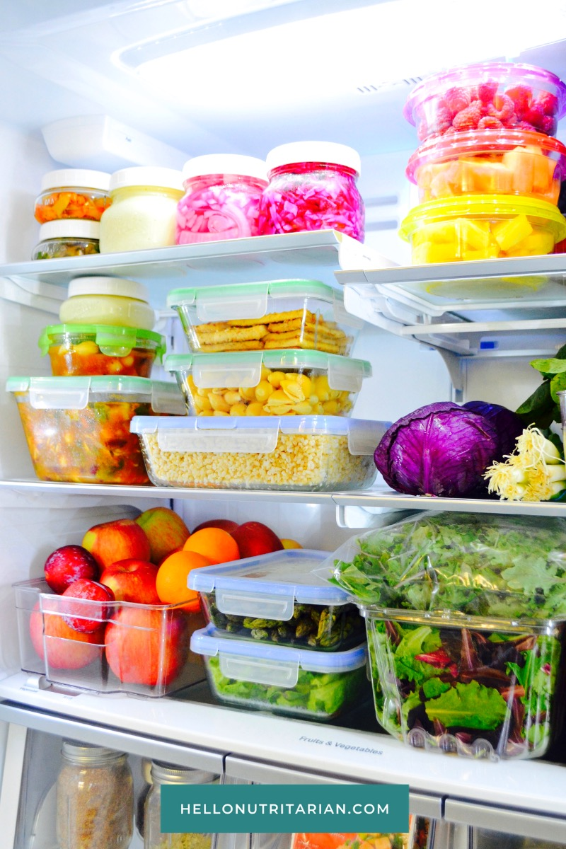 Refrigerator Organization Healthy Vegan Meal Prep Food Storage Containers Marie Kondo Kitchen organization Batch food prep Hello Nutritarian