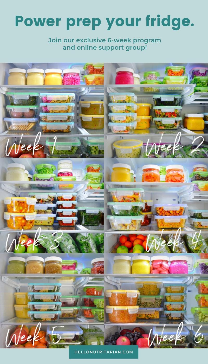 6 Week Power Prep Program by Hello Nutritarian Dr Fuhrman Eat to live nutritarian plan meal prep food prep batch cooking program coupon code BONUSGIFT
