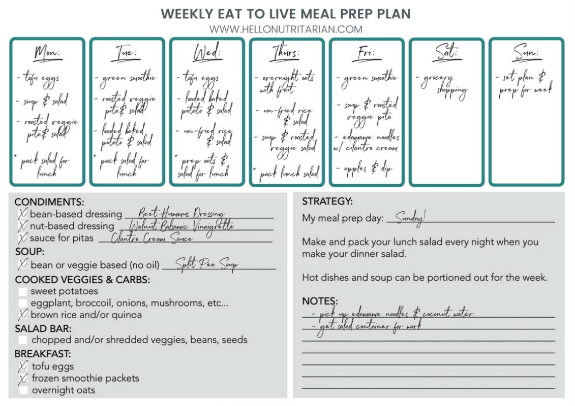 Eat to Live Food Prep Guide Weekly Schedule printable Dr Fuhrman nutritarian 6 week program recipes plan