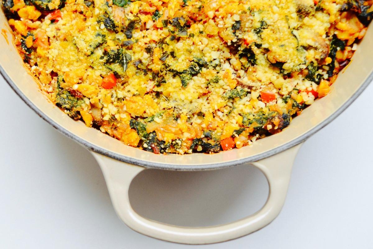 Dr Greger daily dozen nutrition facts org Cheesy Kale Casserole Recipe Toppings No Oil Vegan Dr Fuhrman Nutritarian