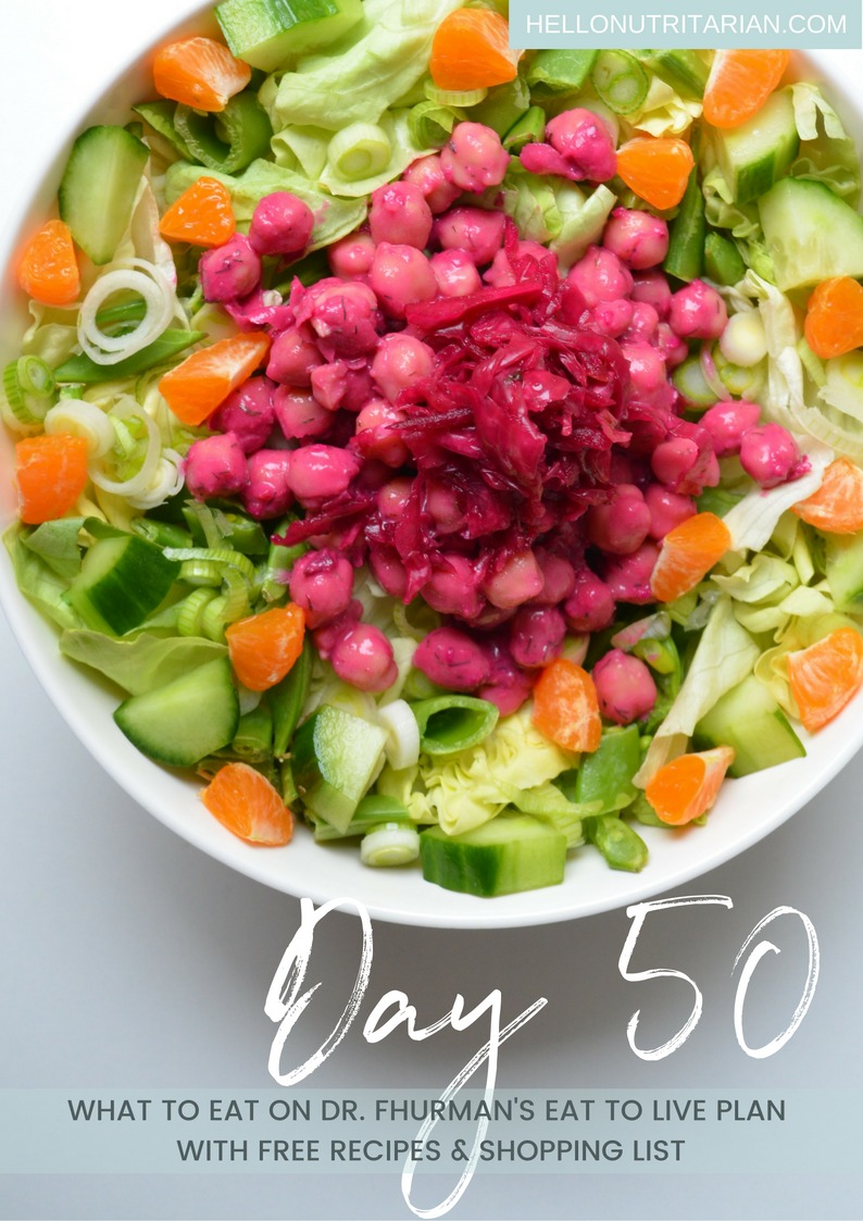 What to Eat on Dr Fuhrman Eat to live Diet Day 50 butter lettuce salad beet hummus garbanzo beans What the Health The Big Fat Truth Menu Plan