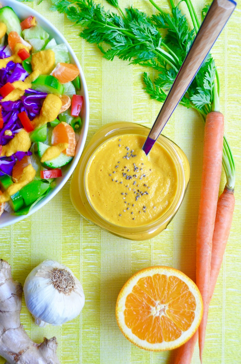 Carrot ginger dressing no oil vegan whole food plant based Dr Fuhrman Eat to Live nutritarian recipe no oil recipe raw salad dressing