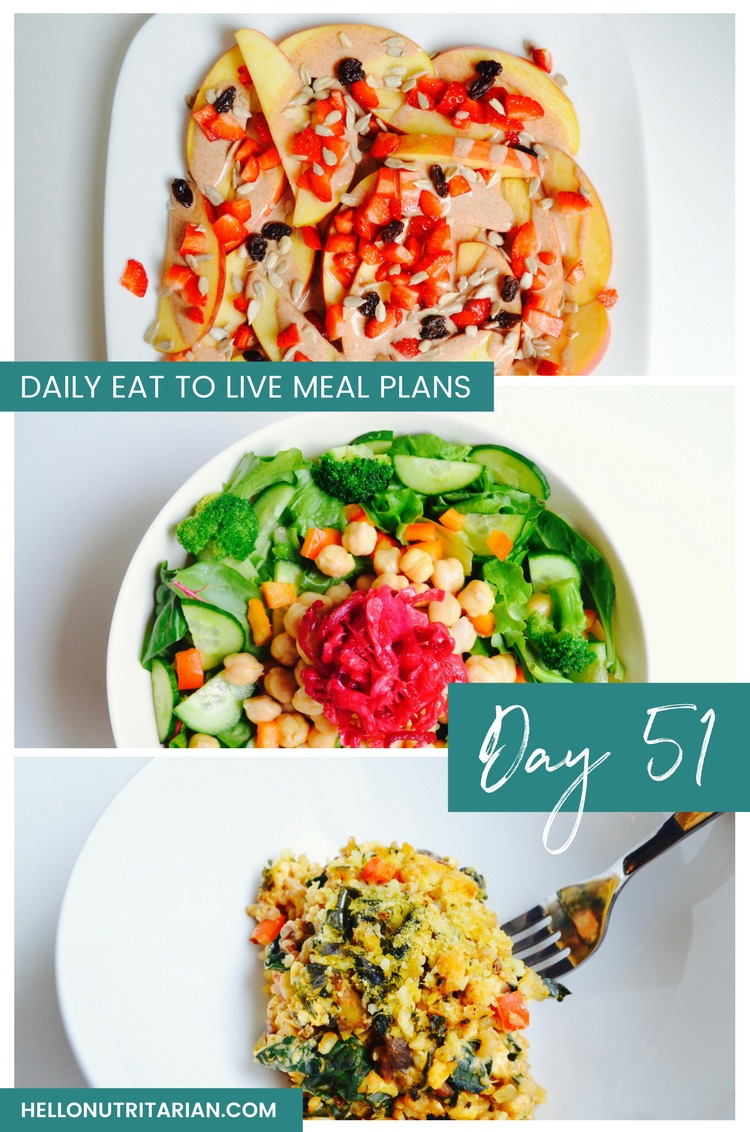 Daily Eat to Live Meal Plan Day 51 Dr Fuhrman Nutritarian 6 week program review Dr Greger How Not to Die What the Health Recipes Oil Free Vegan Recipes