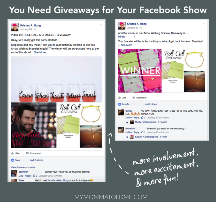 Facebook party posts online tunk shows Stella and dot Facebook Show Tips and tricks Giveaways for Facebook shows