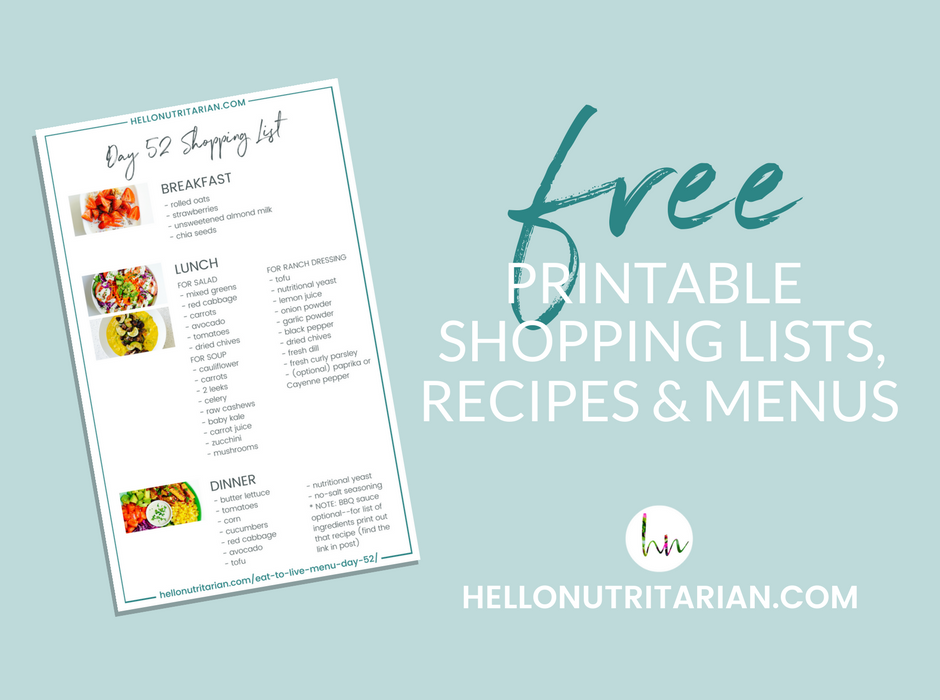 Free Printable Recipes Shopping List for Dr Fuhrman Eat to Live Nutritarian 6 week plan Whole Food Plant Based Meal Plan What the Health