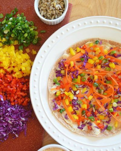 Rainbow Hummus Veggie Wrap Rolls recipe Dr Fuhrman Eat to Live program 6 week diet nutritarian Dr Greger whole food plant based recipe healthy lunch