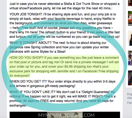 Stella Dot Facebook Trunk Show tips and tricks offer free shipping for any order My Momma Told Me