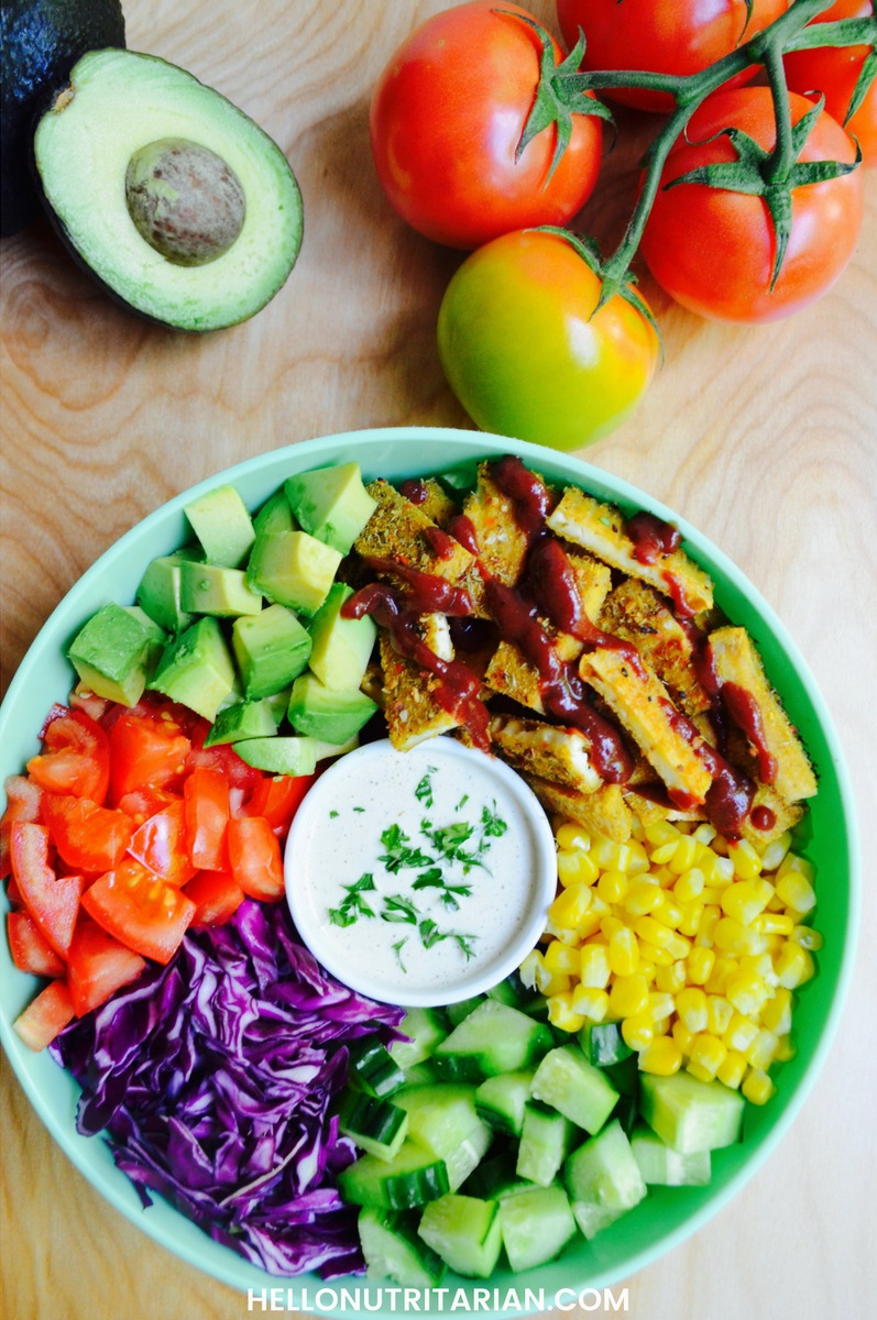 Day 52 Eat to Live Meal Plan BBQ Tofu Ranch Salad Recipe No Oil Vegan Dr Fuhrman Nutritarian Dr Greger What the Health Whole Food Meal plan