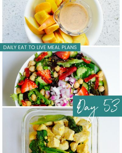 Daily Eat to Live Meal Plans Day 53 Dr Fuhrman Nutritarian 6 week plan Whole Food Plant Based Meal Plans Dr Greger How not to Die What the Health