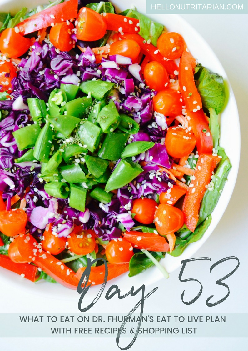 Day 53 Eat to Live Daily Menu How to Make a Salad on Dr Fuhrman Nutritarian 6 week plan no oil vegan recipes Dr Greger How not to Die Recipes