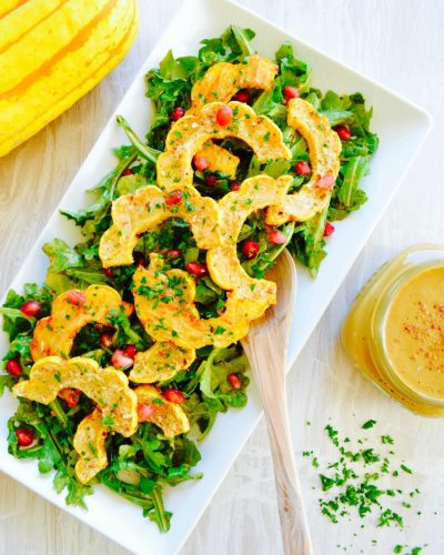 No Oil Roasted Delicata Squash Salad Nutritarian No added Salt Dr Fuhrman recipe