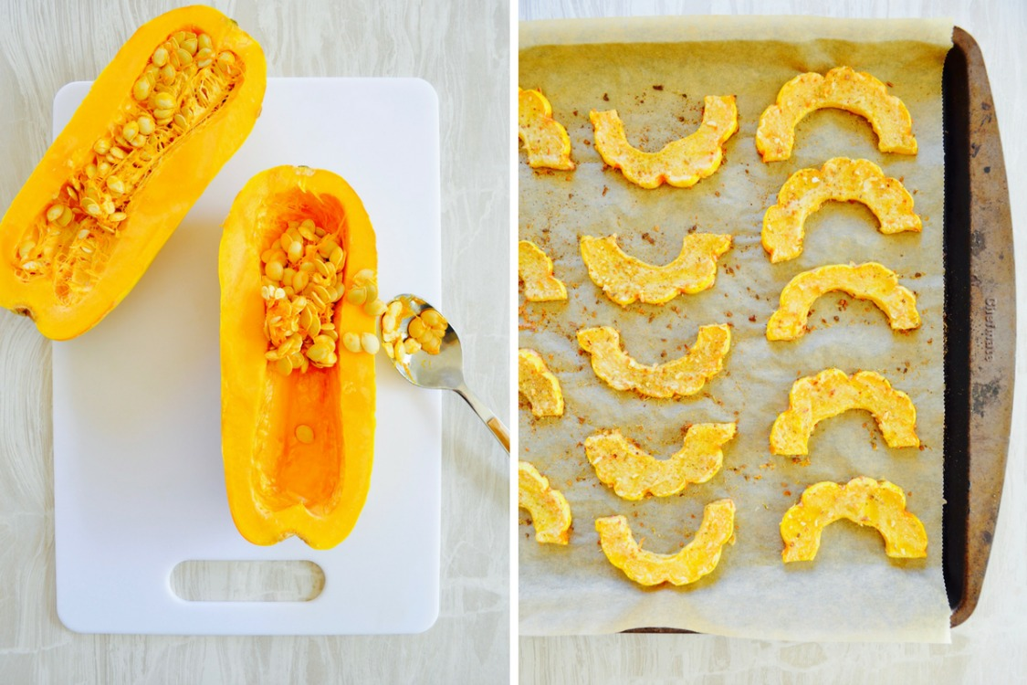 no oil baked delicata squash recipe tahini lemon dr fuhrman eat to live nutritarian recipe