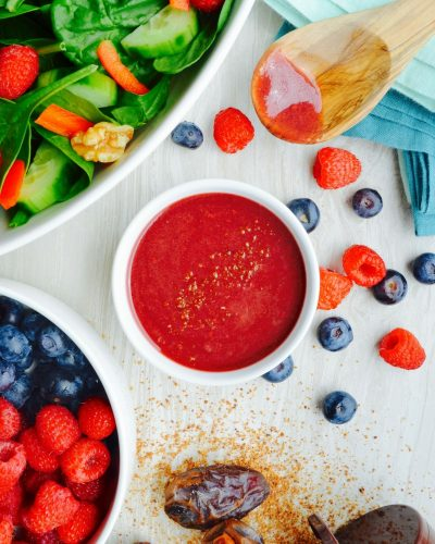 Berry Sauce Raspberry Bluberry Salad dressing vinaigrette fruit platter dip idea Cooked berry sauce recipe No oil no refined sugar vegan nutritarian recipe Dr. Fuhrman Eat to Live 6 week plan diet