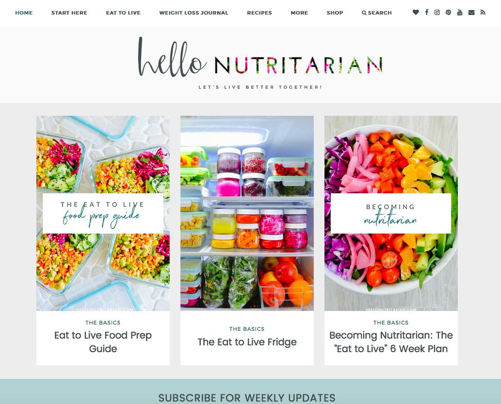 Hello Nutritarian Website Screenshot