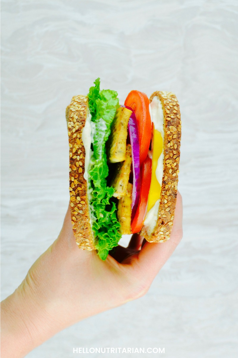 Nutritarian eat to live Dr fuhrman 6 week plan baked tofu sandwich with no oil vegan tofu cashew mayo what the health whole food plant based diet Dr Greger How not to Die