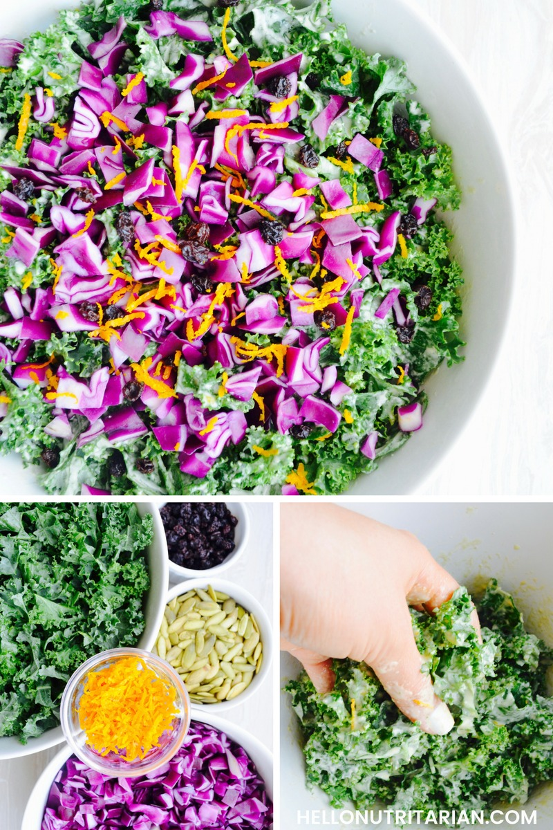Kale Salad Recipe No Oil Vegan No Refined Sugar No Coconut Products Green leafy kale salad with red cabbage, dried currants pumpkin seeds orange zest and an amazing oil free salad dressing
