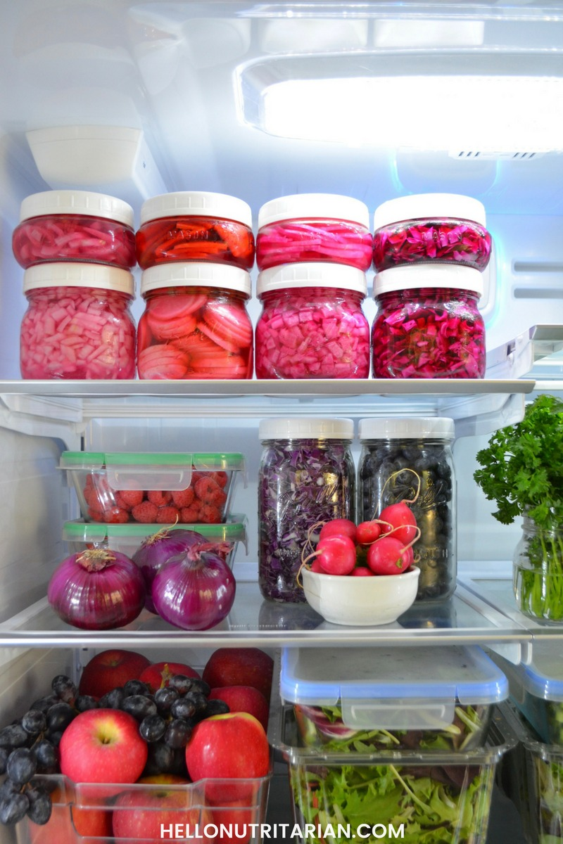 Refrigerator organization quick pickles no cooking no canning no salt picked red cabbage pickled red onion pickled radish nutritarian recipe