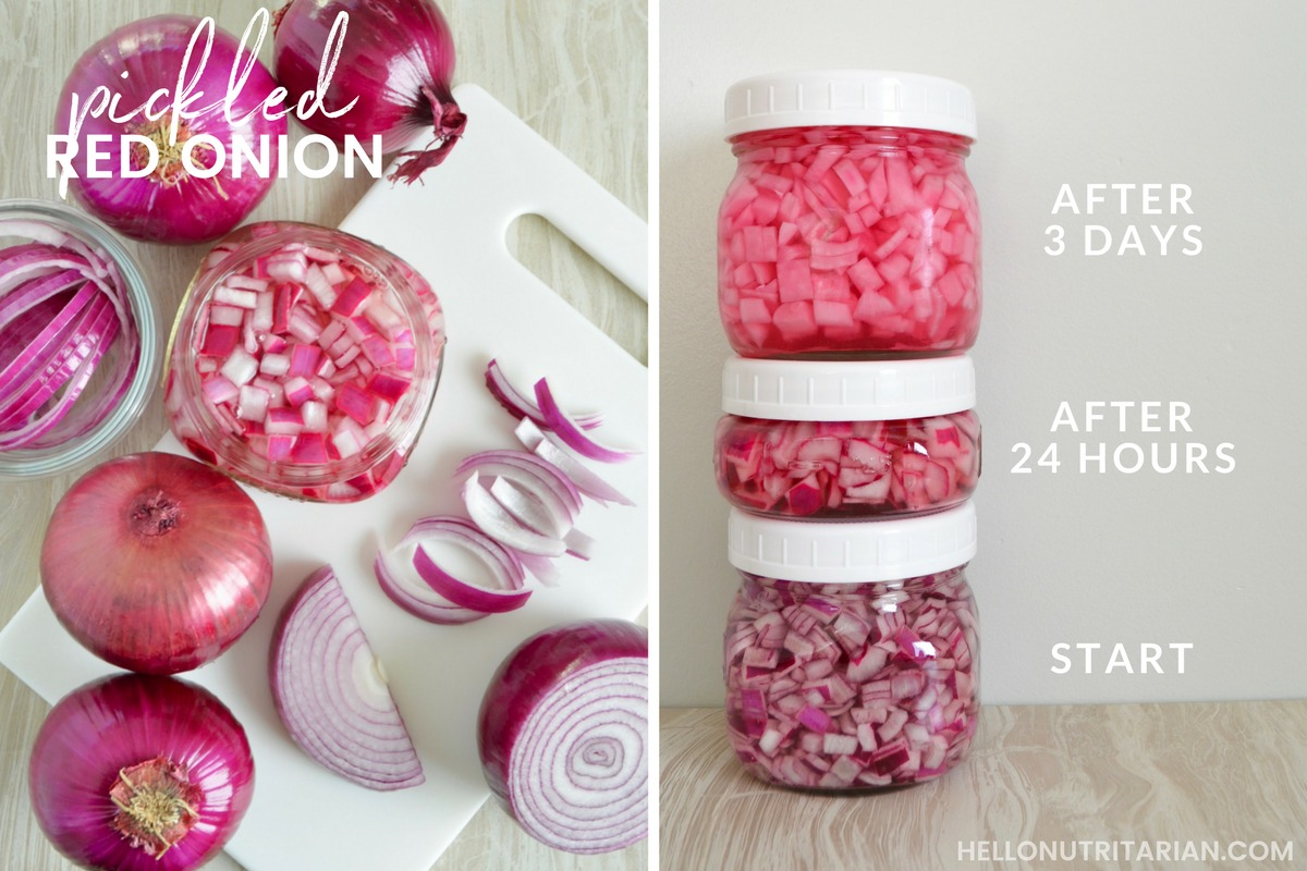 5 Quick Pickled Red onions no boil no salt no cook no sugar Nutritarian condiment How to pickle red onions Refigerator pickles Mason jar veggies Dr Fuhrman Eat to Live plan Dr Greger