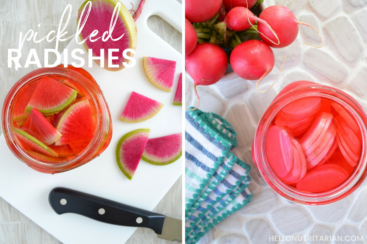 Pickled Radish no boil no brine no salt no sugar refrigerator pickles how to make your own veggie pickles Dr caldwell esselstyn