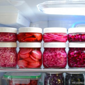 Refrigerator organization homemade condiments plant based living homemade pickled veggies no cook no boil no salt no sugar Mason Jar refrigerator storage pickled red onion