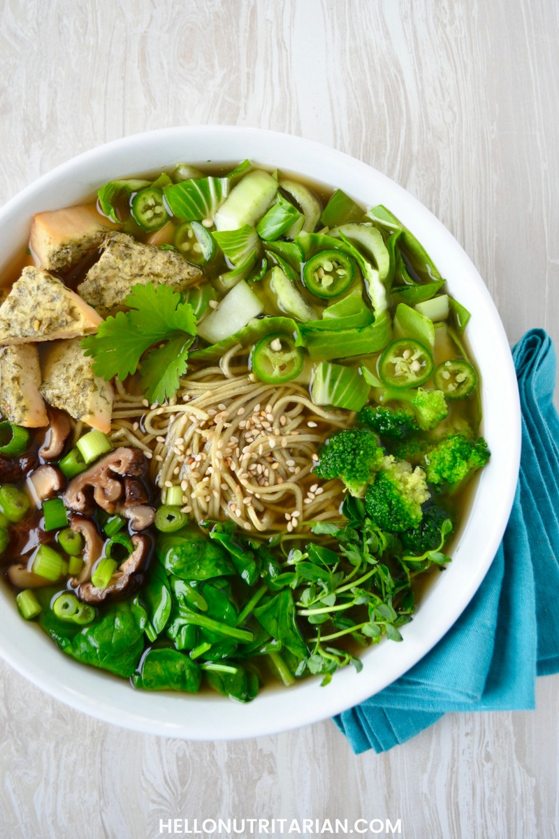 Nutritarian Pho Noodle Soup recipe oil free low sodium whole food plant absed vegan recipe Bone Broth Recipe Whole 30 Super green soup recipe Oil free soup What The Health recipes