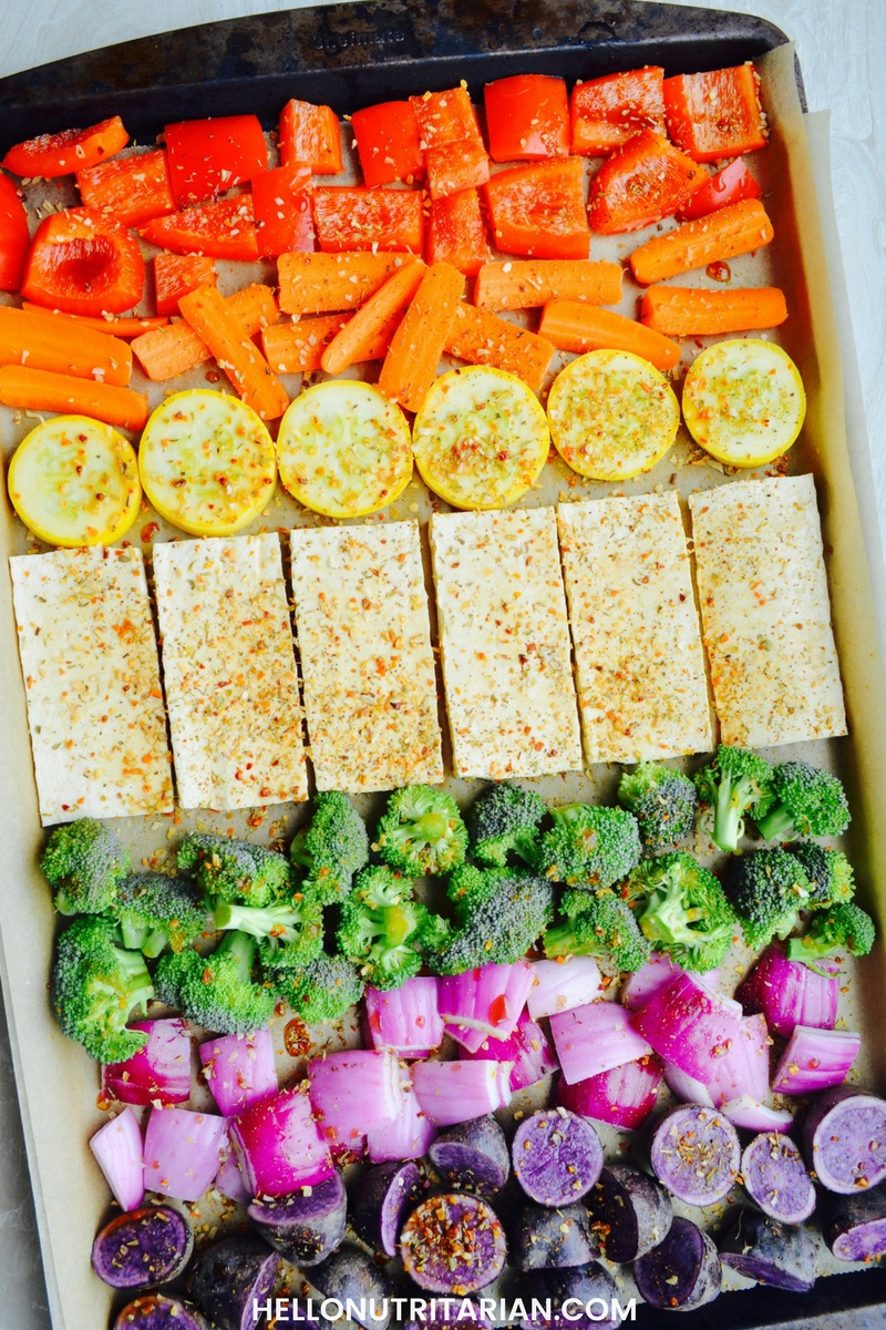 No oil tofu veggies sheet pan meal hello nutritarian oil free no oil veggies tofu vegan sheet pan recipe dr fuhrman eat to live fast forumfinder Images