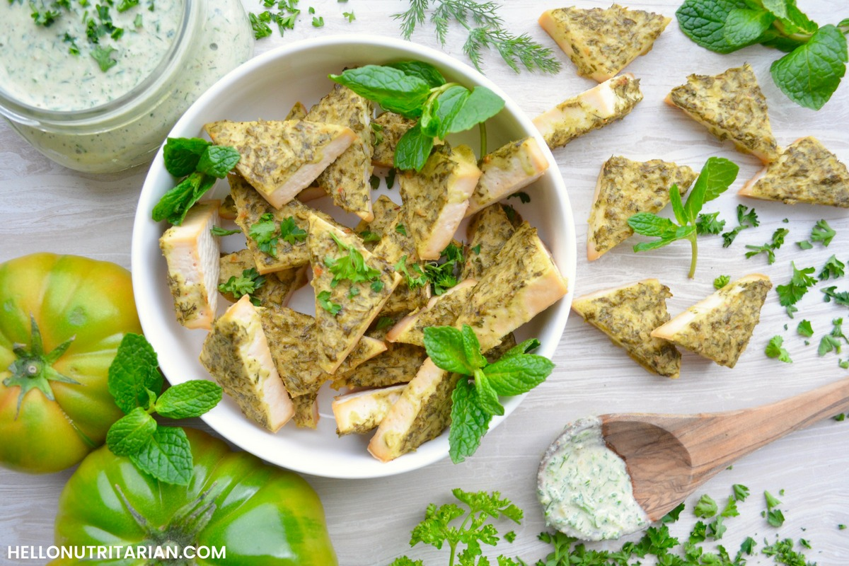 Herb Crusted Tofu Oil Free Baked Vegan Recipe Dr Fuhrman Eat to Live Plan Dr Greger How Not to Die Daily Dozen What the Health Whole Food Plant Based Recipe