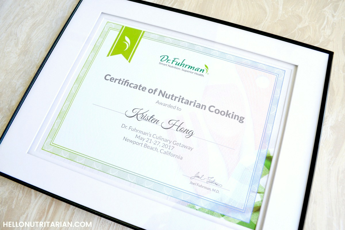 Certificate of Nutritarian Cooking Dr Fuhrman Culinary Getaway Retreat