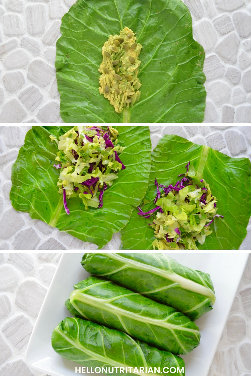 How to add the right amount of filling to your collard green wrap dont overstuff Hello Nutritarian Tutorial