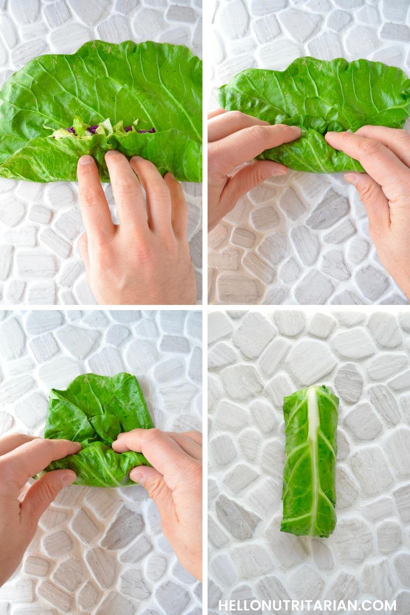 How to roll a collard green wrap so the center rib shows Hello Nutritarian Tutorial