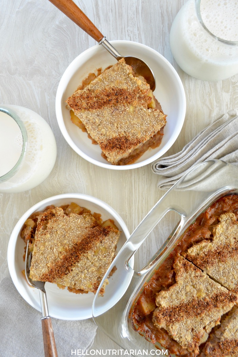 apple pie oatmeal bake hello nutritarian