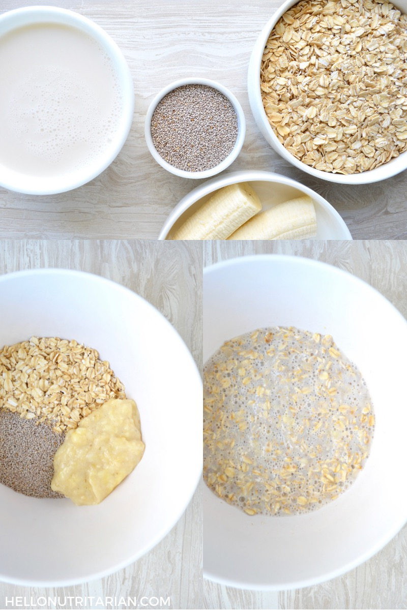 Overnight Oats Process Collage Simple no-cook breakfast Eat to Live program