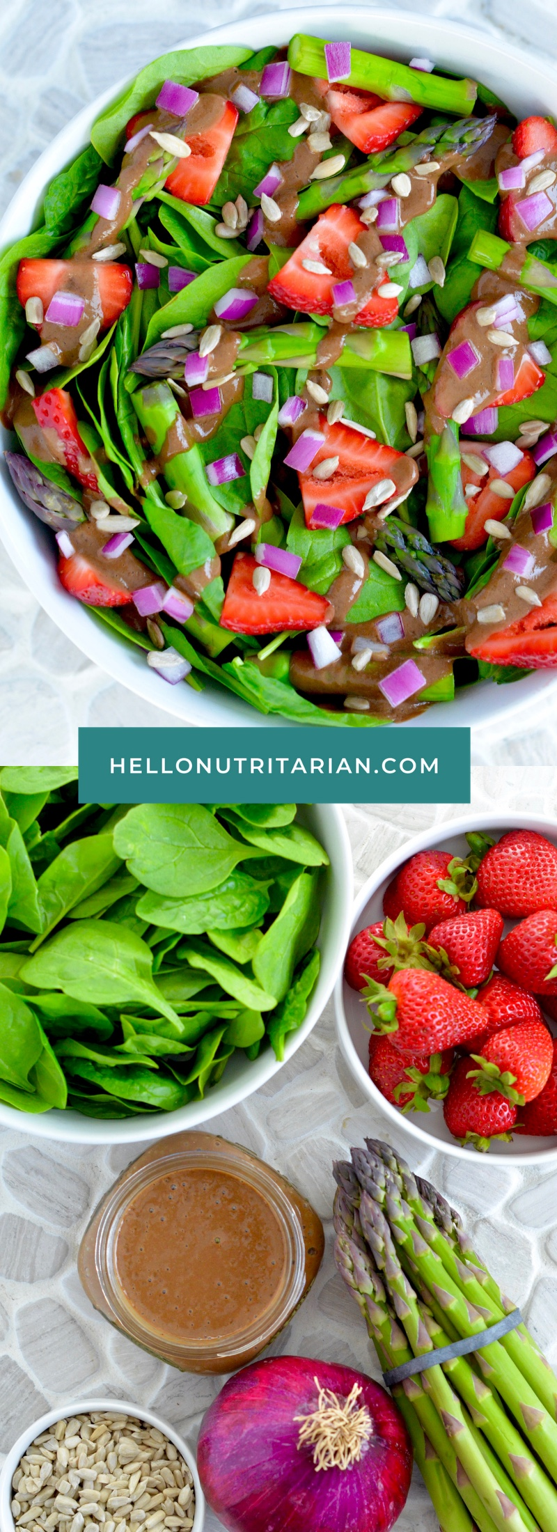 Oil-Free Strawberry Spinach and Asparagus Salad Recipe by Hello Nutritarian Vegan Whole Food Plant Based SOS-Free Vegan Whole30 Dr Fuhrman Eat to Live Daily Chef AJ Dr Greger How Not to Diet
